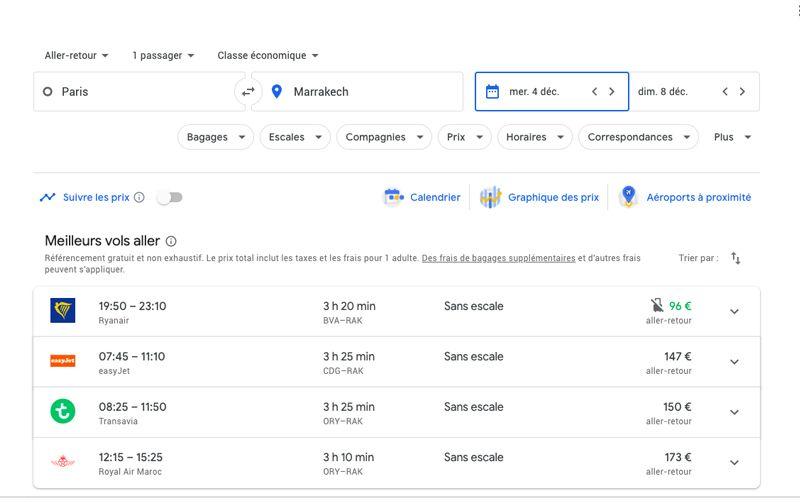 Écran google flights vols de Paris à Marrakech pas chers