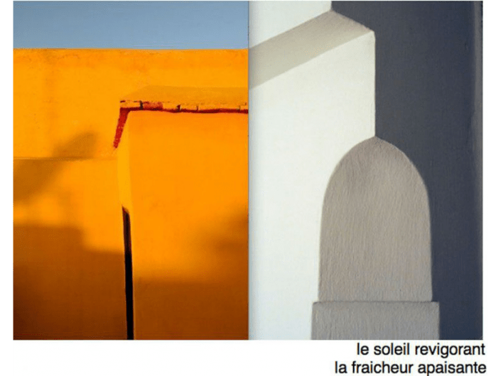 Photo d'un mur ocre et d'un autre blanc dans un riad à Marrakech