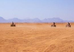 Photo de personnes en quad dans le désert et de la Palmeraie de Marrakech