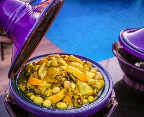 Tajine de poulet dans un Riad à Marrakech