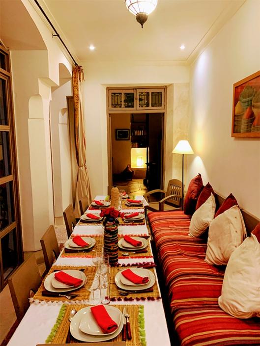 Salle à manger d'un Riad à Marrakech